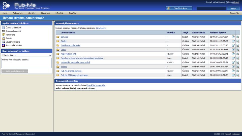 Redakční systém Pub-Me CMS  Ukázky administrace -   07891aac3c