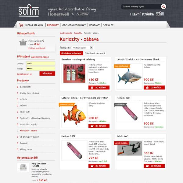 Stránka s přehledm výrobků v e-shopu
